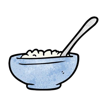 Cartoon bowl of rice illustration on white background.