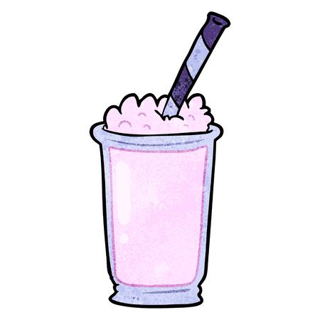 白い背景に漫画ミルクセーキのイラスト。  イラスト・ベクター素材