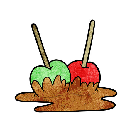Cartoon toffee apples illustration on white background.