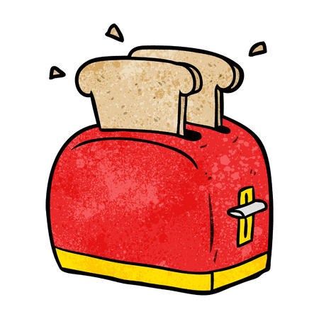 Cartoon toaster toasting bread illustration on white background.