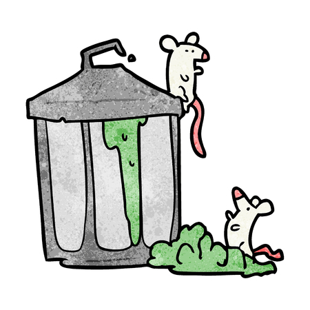 Cartoon old metal garbage can with mice illustration on white background.
