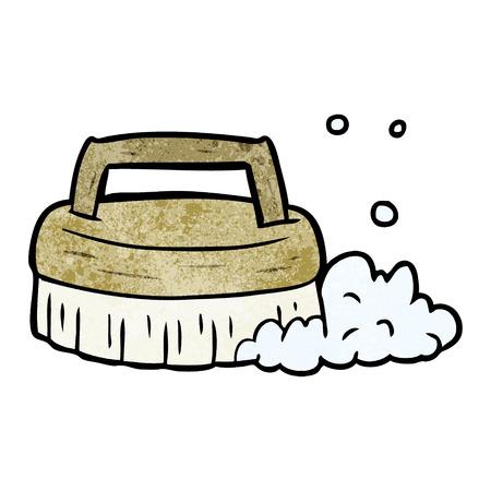 Cartoon scrubbing brush illustration on white background. Illustration