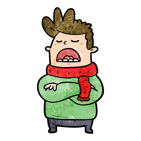 Cartoon obnoxious man in winter clothes illustration on white background.