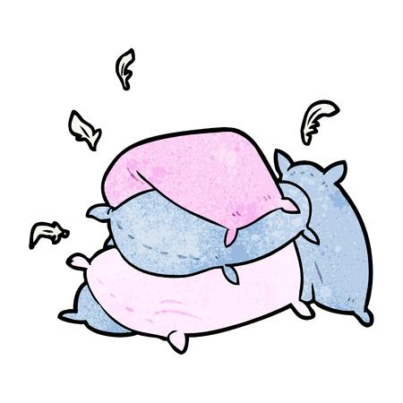 Cartoon pile of pillows illustration on white background. Illustration