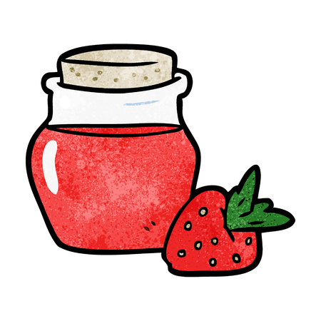 Cartoon jar of strawberry jam illustration on white background.