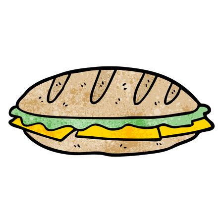 白い背景に漫画チーズサンドイッチイラスト。  イラスト・ベクター素材