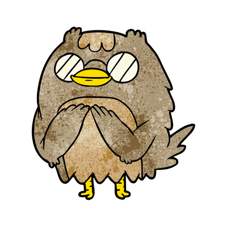Cute cartoon wise old owl illustration on white background.