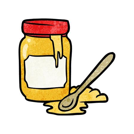 Cartoon jar of honey illustration on white background.