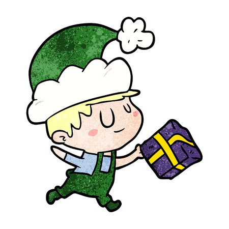 Cartoon happy Christmas elf with present illustration on white background.