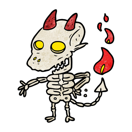 Cartoon spooky skeleton demon illustration on white background.