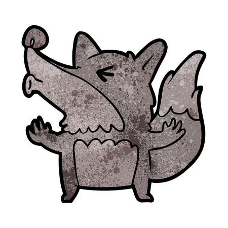Cartoon Halloween werewolf howling illustration on white background. Stock Illustratie