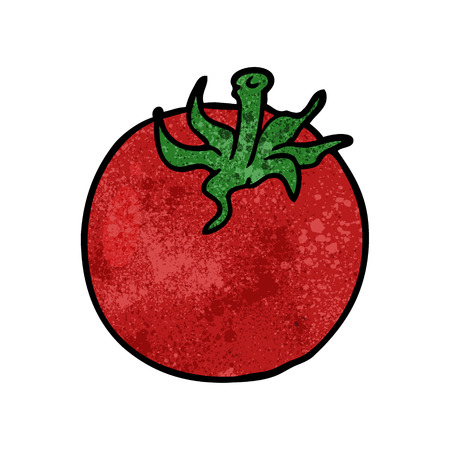 Cartoon fresh tomato illustration on white background.