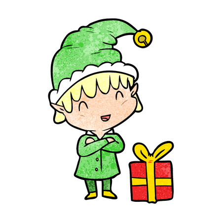 Cartoon happy Christmas elf vector illustration