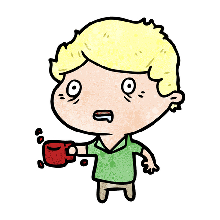 Cartoon man jittery from drinking too much coffee vector illustration Ilustração