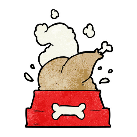 Cartoon whole cooked turkey crammed into a dog bowl vector illustration