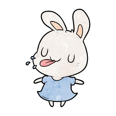 라즈베리 벡터 일러스트 레이 션을 불고 귀여운 만화 토끼