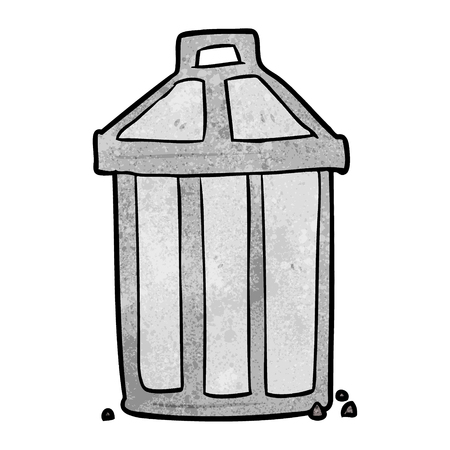 Cartoon old metal garbage can vector illustration