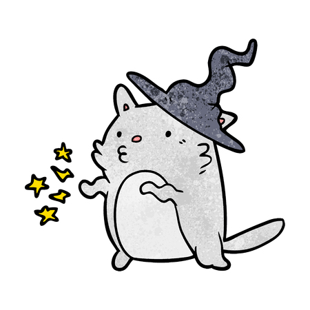 Magical amazing cartoon cat wizard vector illustration