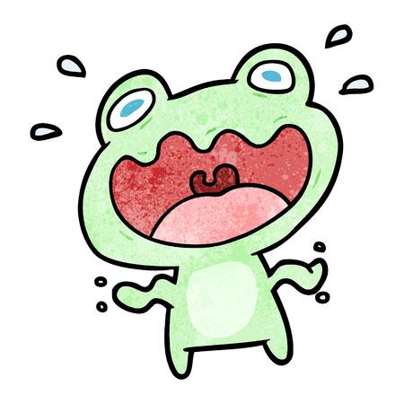 Cute cartoon frog frightened vector illustration Illustration