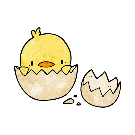 Cute cartoon chick hatching from egg vector illustration Çizim