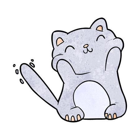 Very happy cute cartoon cat vector illustration