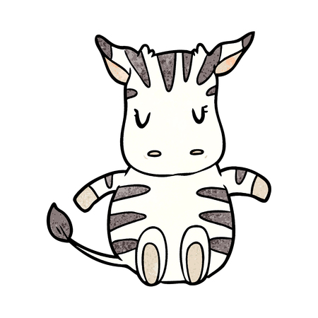 Cute cartoon zebra vector illustration Çizim
