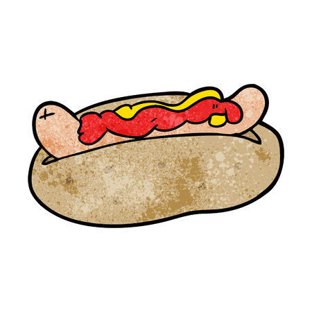 cartoon hotdog with mustard and ketchup