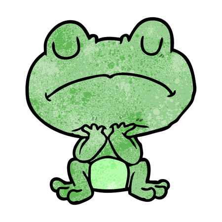 cartoon frog waiting patiently 向量圖像