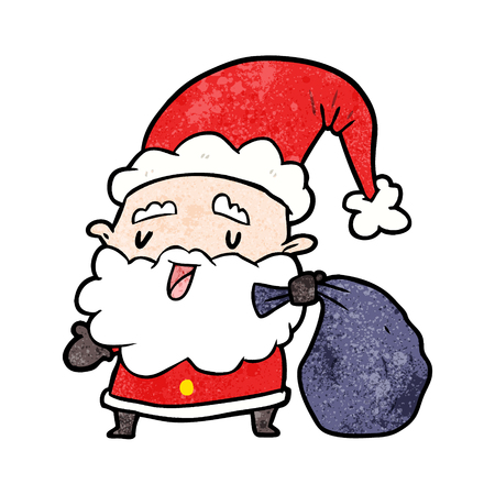 cartoon santa claus carrying sack of presents Illustration