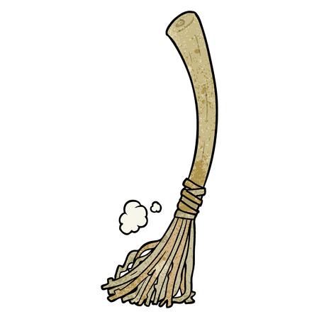 cartoon halloween witches broom Ilustração