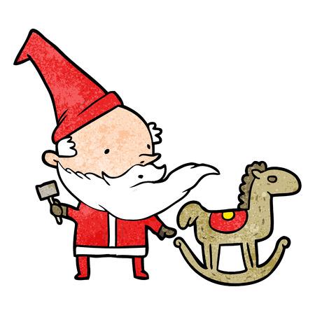cartoon santa (or elf) making a rocking horse