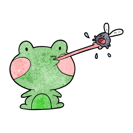 cute cartoon frog catching fly with tongue