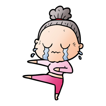 Cartoon old dancer woman crying