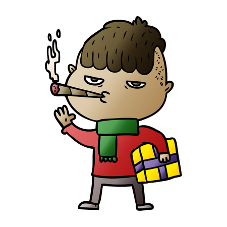 Cartoon man smoking carrying christmas gift
