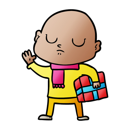 Cartoon bald man with xmas gift