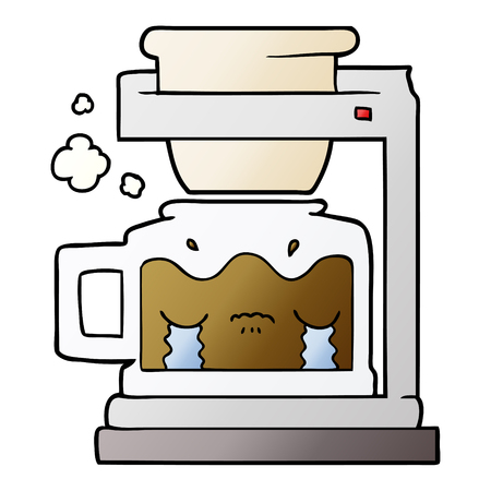 Cartoon crying filter coffee machine 일러스트