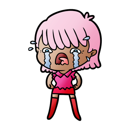 Cartoon girl crying Ilustração