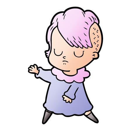 cartoon woman with violet hair Ilustração