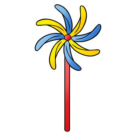 異なる色のおもちゃの風車。  イラスト・ベクター素材