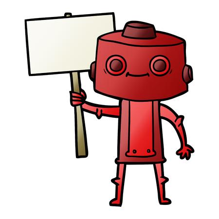 cartoon robot with placard 向量圖像