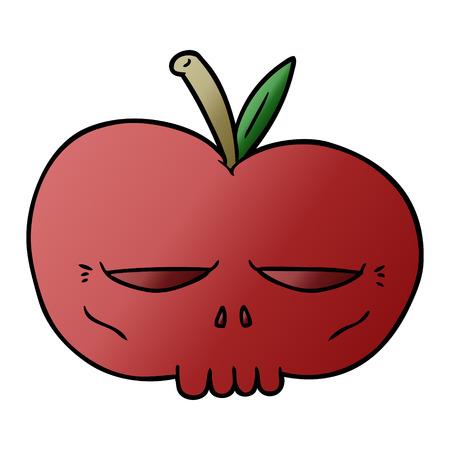 Cartoon spooky skull apple