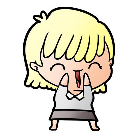 cartoon happy blonde woman