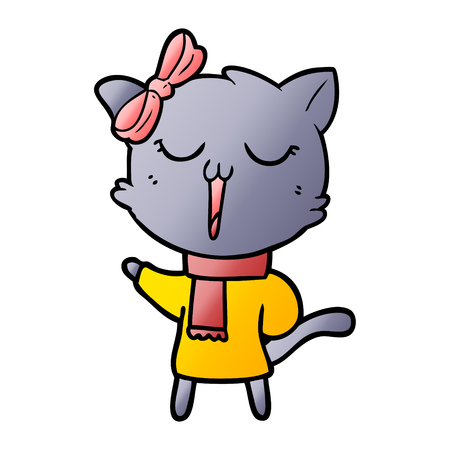 cartoon cat with red scarf and ribbon 向量圖像