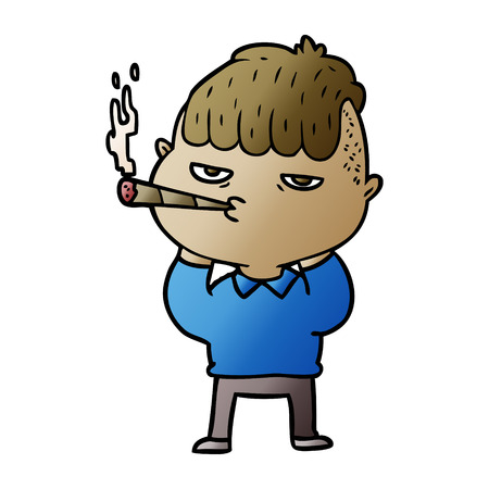 Cartoon man smoking 向量圖像