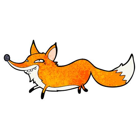 Cute cartoon sly fox illustration on white background.