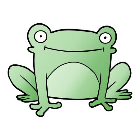 Cartoon frog illustration on white background.