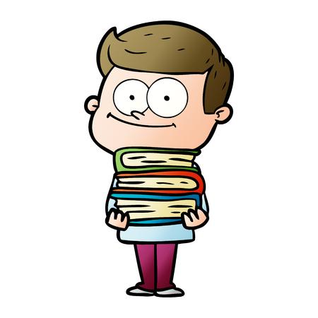 Cartoon happy man holding some books