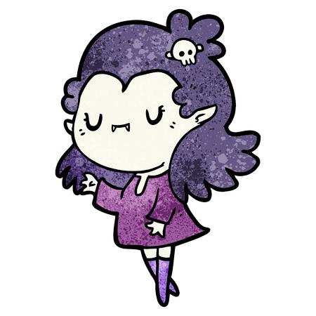 Cute cartoon vampire girl Stock Illustratie