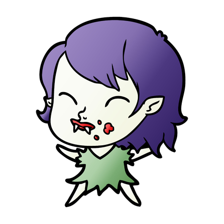 Cartoon vampire girl with blood on cheek Çizim