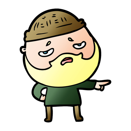 cartoon worried man with beard 일러스트